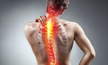 See-through shot of the human spine experiencing pain